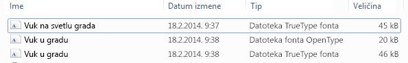 Lista fontova u neraspakovanoj datoteci.