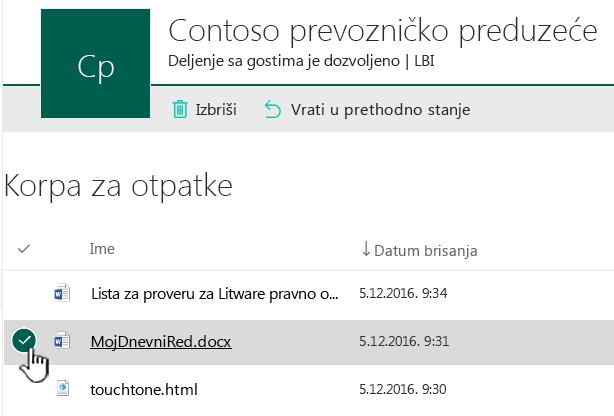 Korpa za otpatke SharePoint Online sa stavkom istaknuta