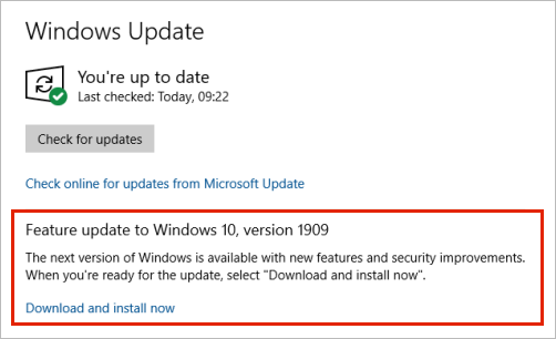 Windows Update showing feature update placement