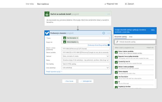 Snimak ekrana koji prikazuje opciju za dodavanje dinamičkog sadržaja