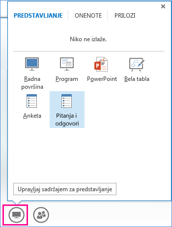 Snimak ekrana menadžera za pitanja i odgovore