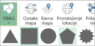 """Opcija """"Oblici"""" za 3D mape"""