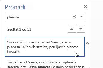 "Slika okna ""Pronađi"" u usluzi Word Online"