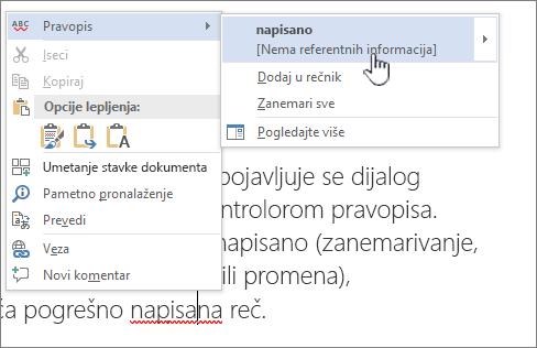 Korišćenje menija kliknite desnim tasterom miša da biste ispravili pravopis