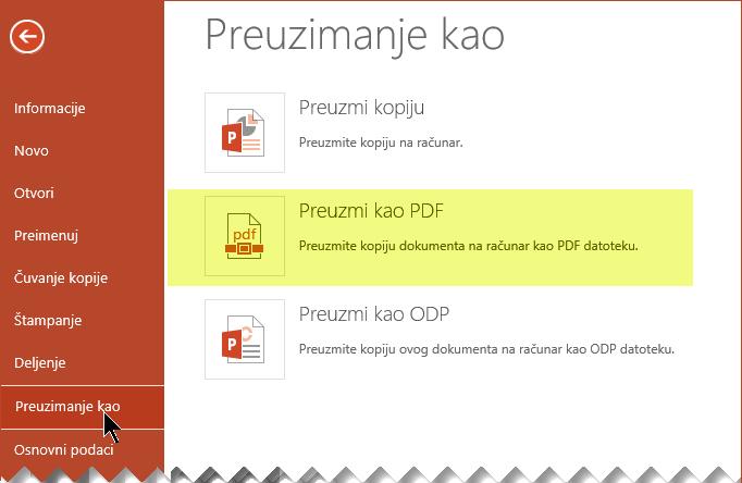 Izaberite stavke Datoteka > Preuzmi kao PDF