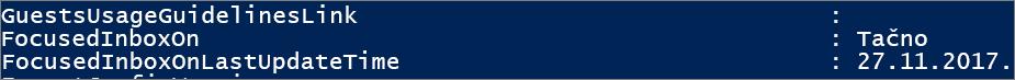 Odgovor iz programa PowerShell o stanju fokusiranog prijemnog sandučeta.