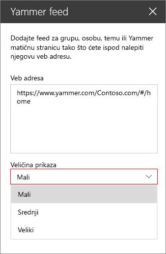Okvir za Yammer feeda Veb adresu