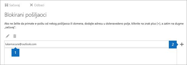 Snimak ekrana Blokirani pošiljaoci stranice.