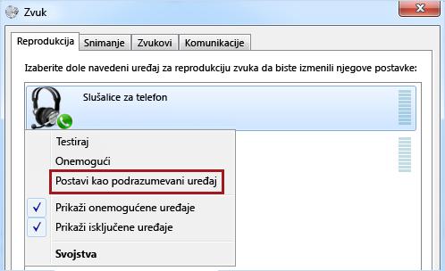 Podešavanje uređaja kao podrazumevanog u operativnom sistemu Windows