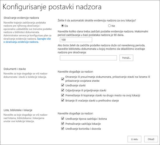 Konfigurisanje postavki nadzora u dijalogu postavke sajta
