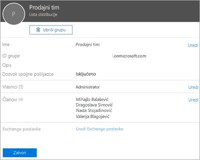 Snimak ekrana: Dodavanje kontakta u listi distribucije