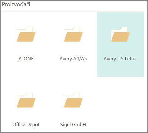 Predlošci razglednica određenih proizvođača razglednica, kao što je Avery.