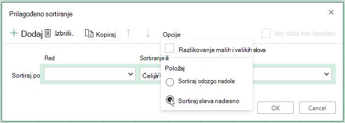 "Prilagođeno sortiranje otvoreno ""Opcije"" menija i izbor opcije sortiranja sleva na desno"