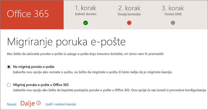 Migriranje e-pošte