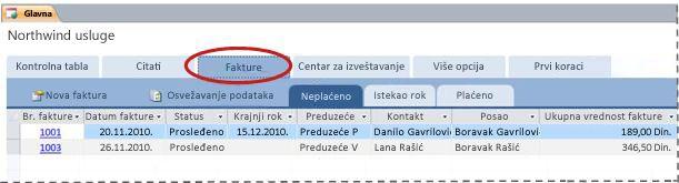 """Kartica """"Fakture"""" predloška Services baze podataka"""