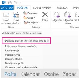 Deljeno poštansko sanduče se prikazuje na spisku fascikli u programu Outlook