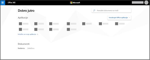Matična stranica Office 365