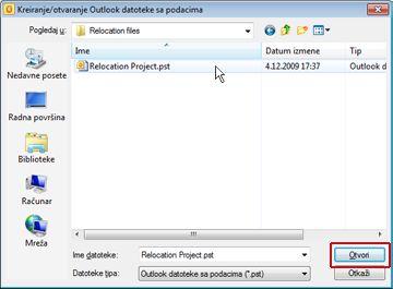 """Dijalog """"Kreiranje/otvaranje Outlook datoteke sa podacima"""""""