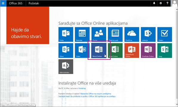 Izaberite Office Online aplikaciju