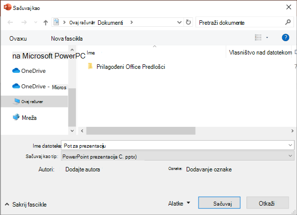 Nasleđe Sačuvaj kao iskustvo u programu PowerPoint