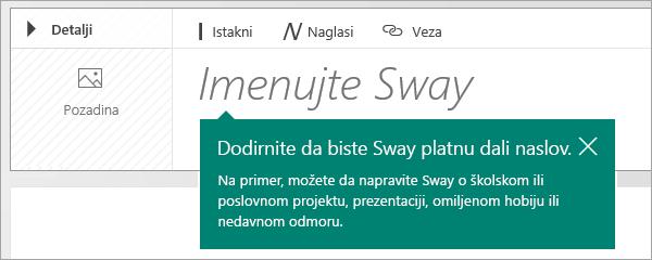 Upit za naslov u Sway planu radnje