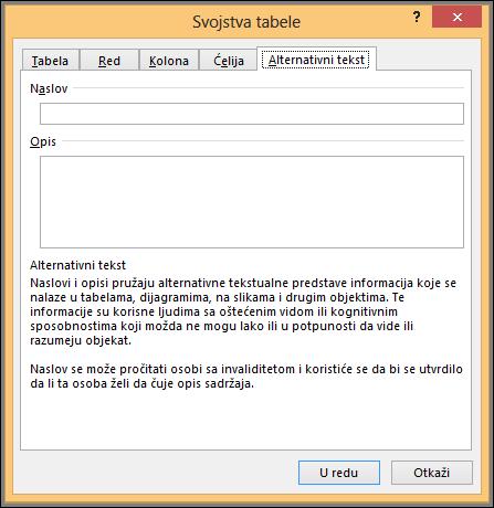Alternativni tekst karticu u dijalogu svojstva tabele