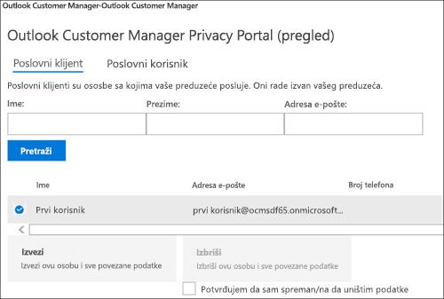 Snimak ekrana: izvoz podataka klijenta Outlook klijenta