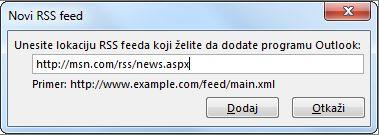 Upisivanje URL adrese za RSS feed