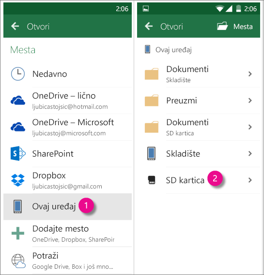 Office za Android SD kartica