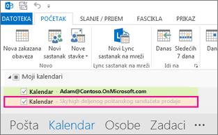 Deljeni kalendar se prikazuje na spisku fascikli u programu Outlook