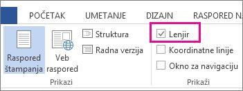 """Snimak ekrana kartice """"Prikaz"""" u programu Word 2013 koji prikazuje izabranu i markiranu opciju """"Lenjir""""."""