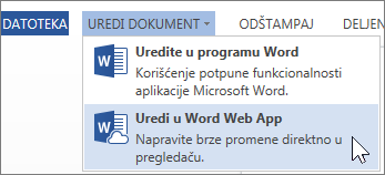 Uređivanje u usluzi Word Online