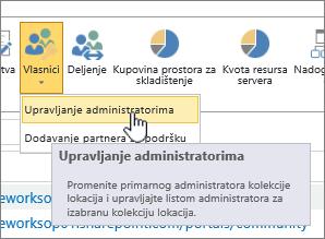 Dugme vlasnici SPO lokacija administratora sa upravljanje administratorima markirana.