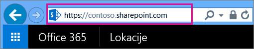 Kopirajte URL adresu lokacije tima