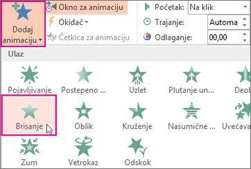 Dodavanje efekta animacije u programu PowerPoint