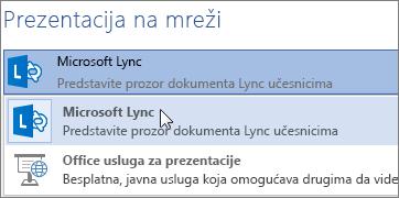 Prezentuj na mreži pomoću programa Microsoft Lync