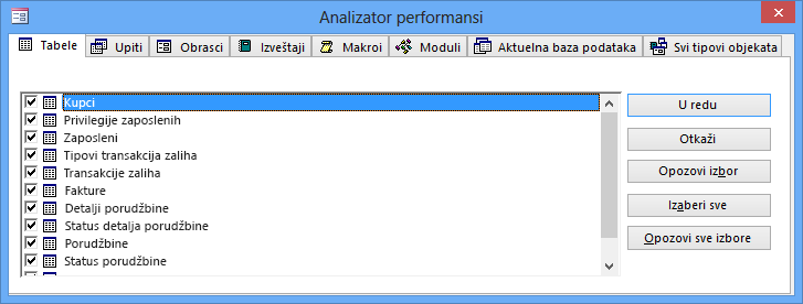 "Dijalog ""Analizator performansi"" u programu Access"