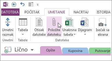 Umetnite prilog datoteke da biste imali kopiju datoteka u programu OneNote