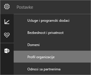 """Snimak menija """"Postavke"""" sa izabranim profilom """"Organizacija"""""""