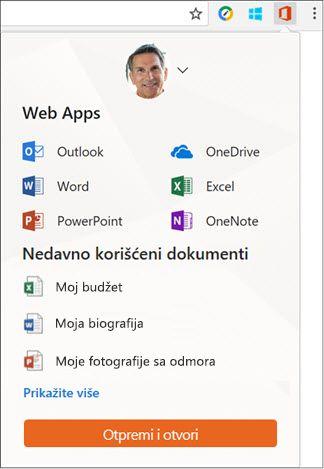 Kliknite na oznaku na lokaciji Office Online na traci Chrome oznake tipa datoteke da biste otvorili tablu na lokaciji Office Online.