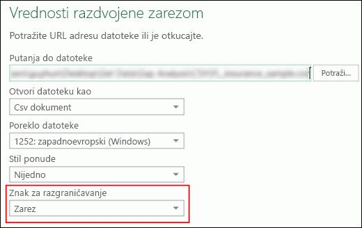 Power Query – CSV konektor – mogućnost navođenja znaka za razgraničavanje kolona u izvornom dijalogu
