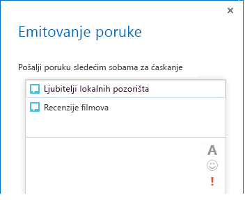 "Snimak ekrana vrha dijaloga ""Emitovanje poruke"""