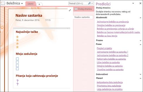 """Snimak ekrana stranice beležnice napravljene od predloška za sastanak. Okno """"Predlošci"""" je otvoreno."""
