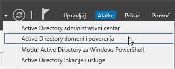 """Odaberite stavku """"ActiveDirectory domeni i poverenja""""."""