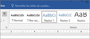 Snimak ekrana opcija stila naslova