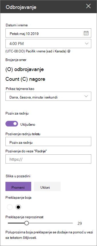Odbrojavanje web segmenta svojstvo okvira sa alatkama