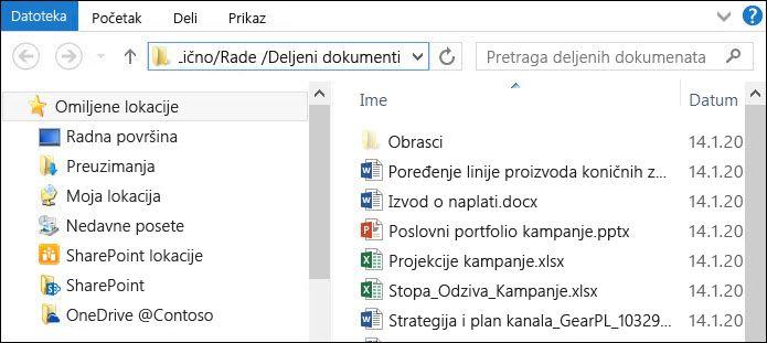 """Istraživač datoteka posle izbora opcije """"Otvori pomoću programa Explorer"""""""