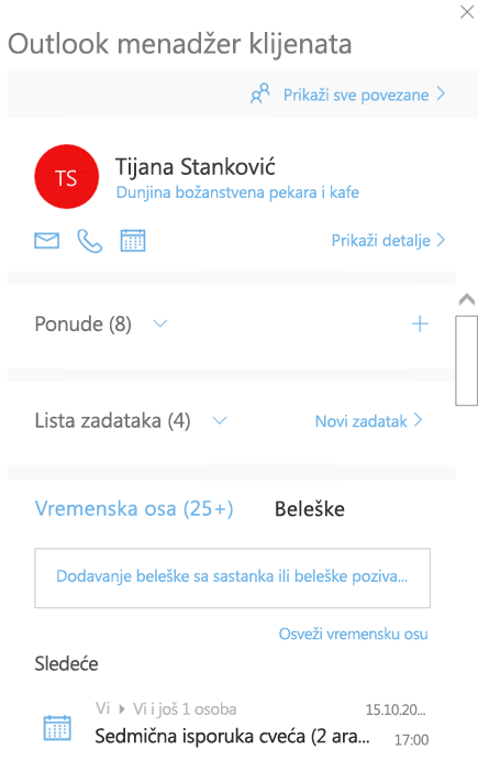 Ekran dobrodošlice u programu Outlook Customer Manager