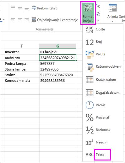 primena oblikovanja teksta na brojeve
