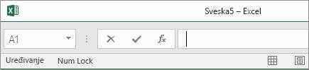 Kartice radnog lista nestaju kada statusnu traku prevučete sve do trake sa formulama